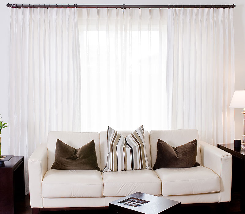 White Sheer Layered Behind Seashell Dupioni Drapes